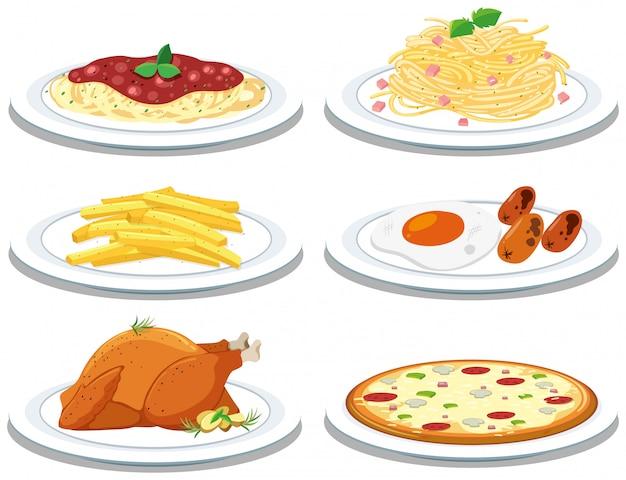 さまざまな食事のセット