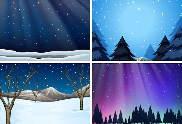 雪の背景のセット