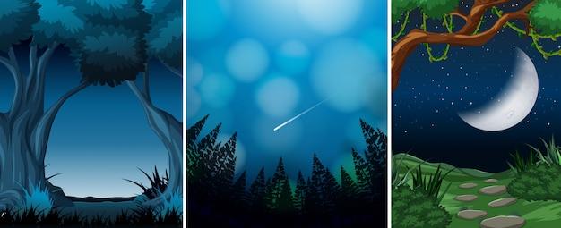 森のシーンの背景のセット