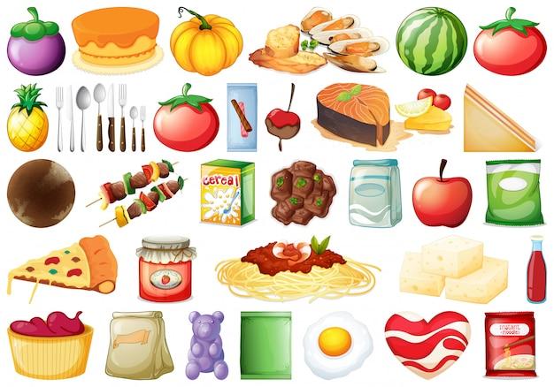 多くの食べ物のセット