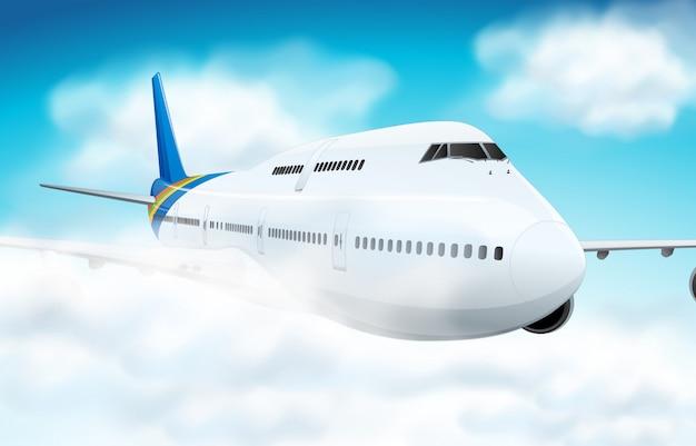Сцена с самолета, летящего в небе