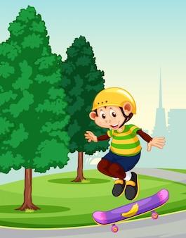 Обезьяна играет скейтборд в парке