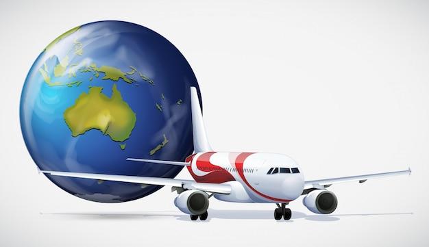 Самолет и мир на белом