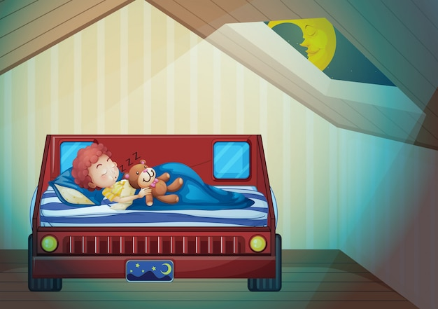 Мальчик спит в спальне