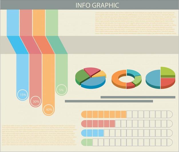 カラフルなグラフのインフォグラフィック