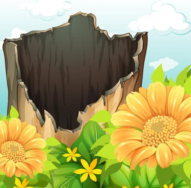 乾燥木と庭の花