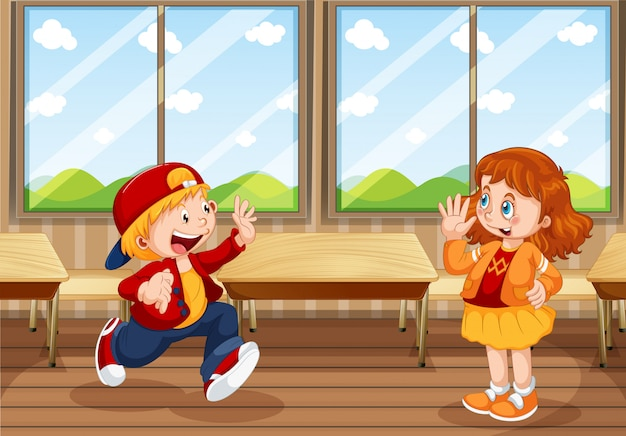 男の子と女の子が教室で
