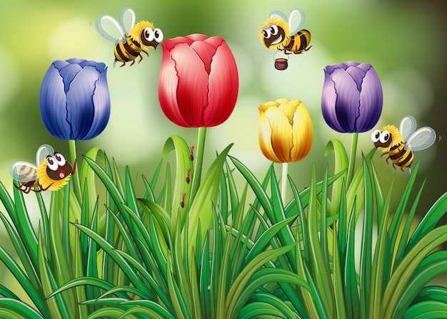 チューリップの庭を飛んでいる蜂