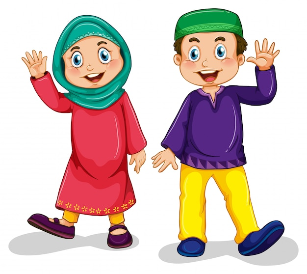 Мусульманский мальчик и девочка