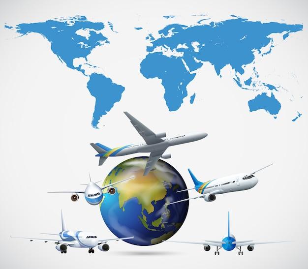 世界中を飛んでいる多くの飛行機