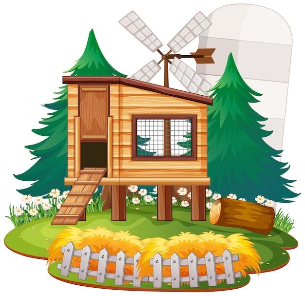 自然の中で農村の家