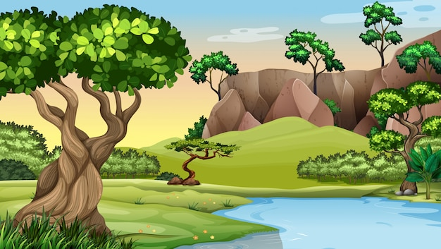 池のそばの木々とのシーン
