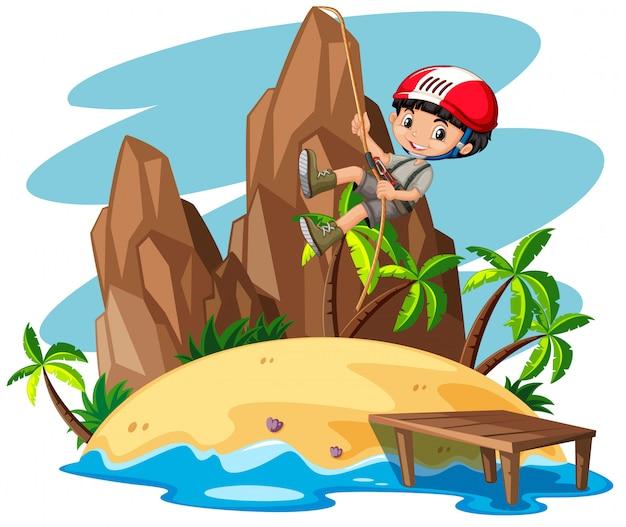 山を登る少年