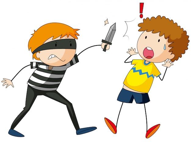 強盗の子供が遊ぶ