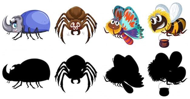 昆虫のキャラクターとシルエットのセット