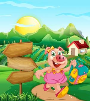 Свинья в сельском доме