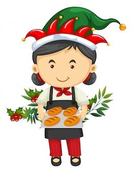 Рождественская тема с девушкой и хлебом
