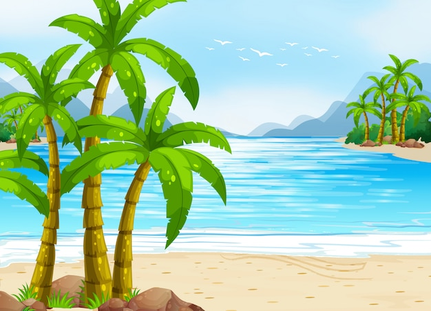 Летняя тема с пляжем и океаном