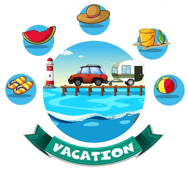ワゴンとビーチのオブジェクトと休暇のテーマ