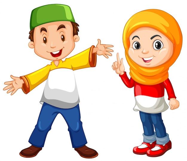 イスラム教徒の少年と伝統的な衣装の少女