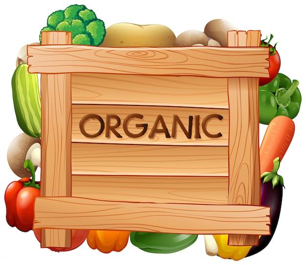 有機サインと野菜の多くの種類