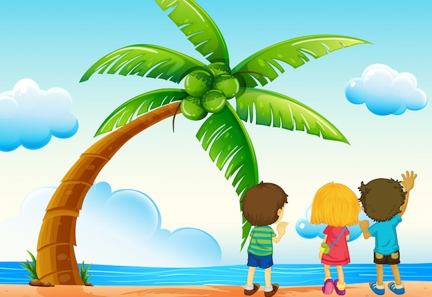 子供とビーチ