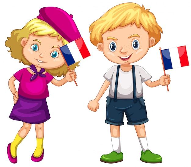 男の子と女の子がフランスの旗を保持