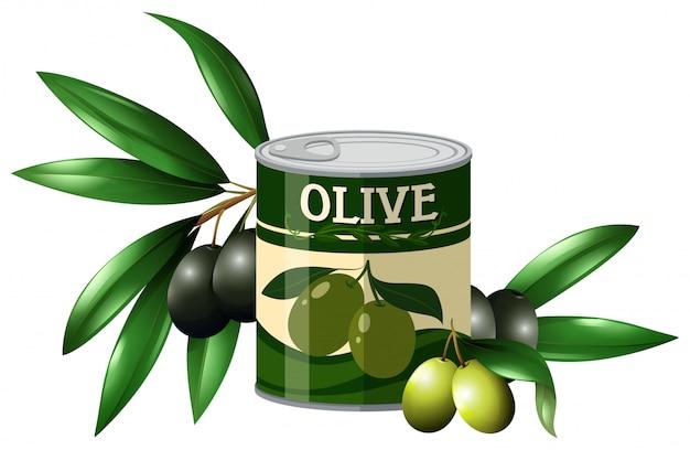 新鮮なオリーブと缶の中のオリーブ