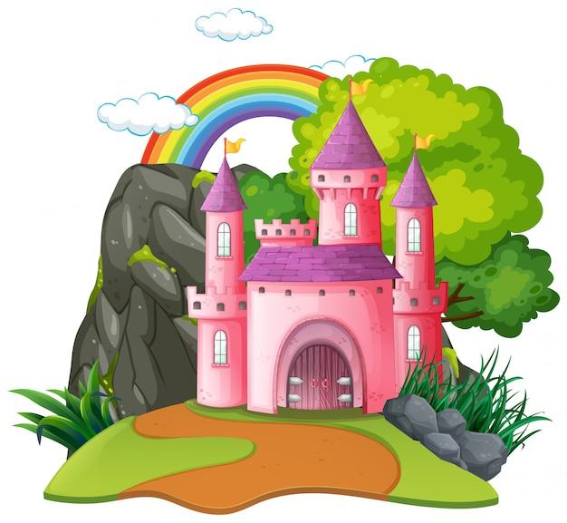 孤立したファンタジー中世の城