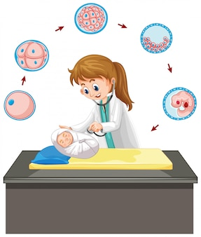 Доктор ухаживает за младенцем