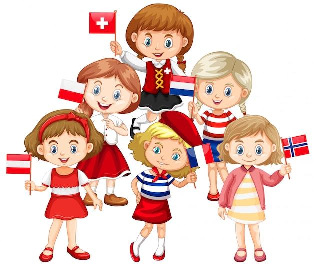 さまざまな国からの旗を握る子供たち