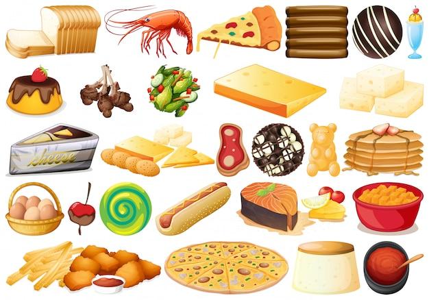 別の食べ物のセット