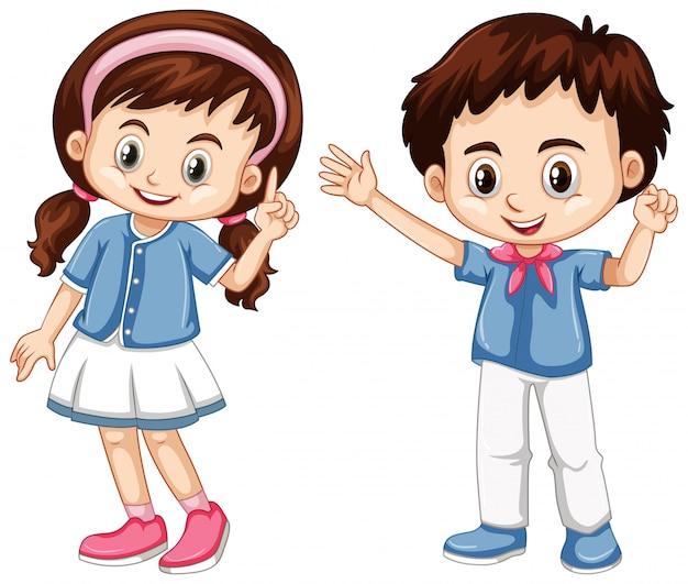 Мальчик и девочка со счастливым лицом
