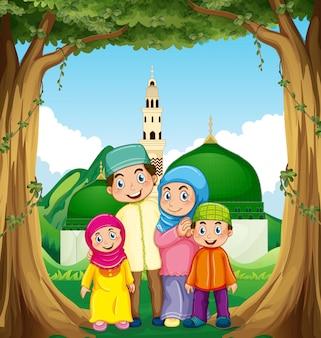 モスクでイスラム教徒の家族