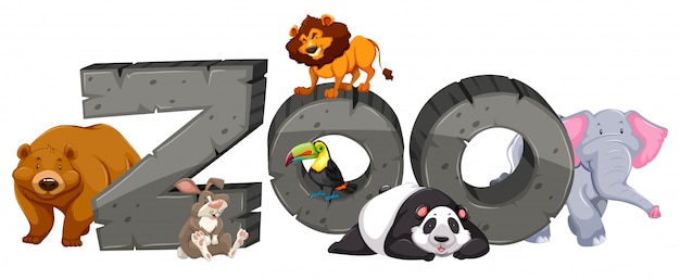 動物園のサインとたくさんの動物