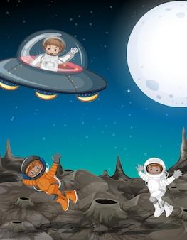 宇宙飛行士が宇宙を探る