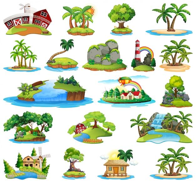 島の自然のセット