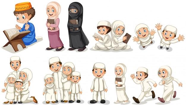 さまざまな行動をとっているイスラム教徒の人々