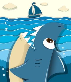 ヨットを目指して怒っているサメ