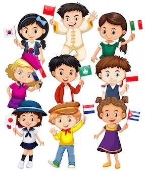 さまざまな国からの旗を保持している多くの子供たち