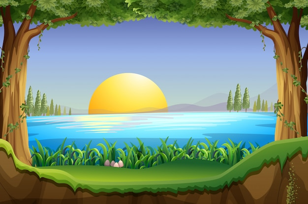 Сцена с закатом на озере