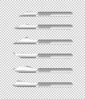 透明な背景に医療用ナイフの種類