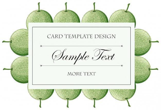 カンタロープメロンフルーツのフレームを持つカード