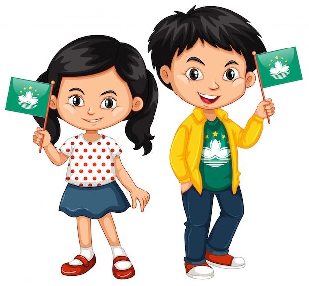 男の子と女の子のマカオの旗を保持