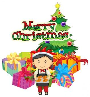 Шаблон рождественской открытки с пекарем и подарками