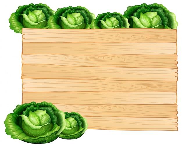 木の板とキャベツ