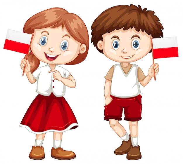 幸せな男の子と女の子のポーランドの旗を保持