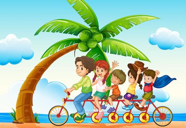 ビーチそばの乗馬自転車