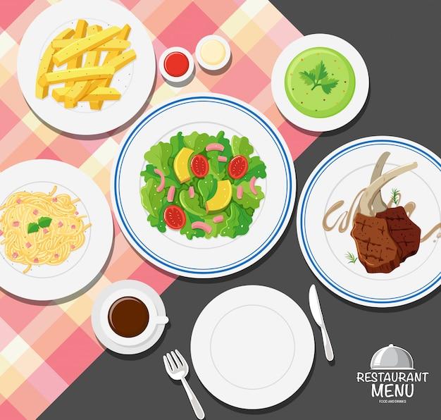 ダイニングテーブルの上に食べ物の種類