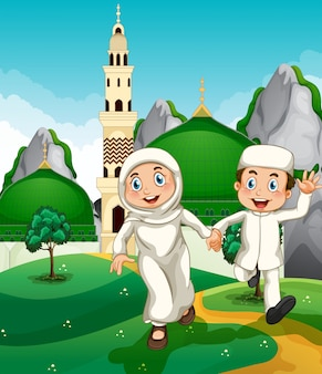 モスクでイスラム教徒のカップル